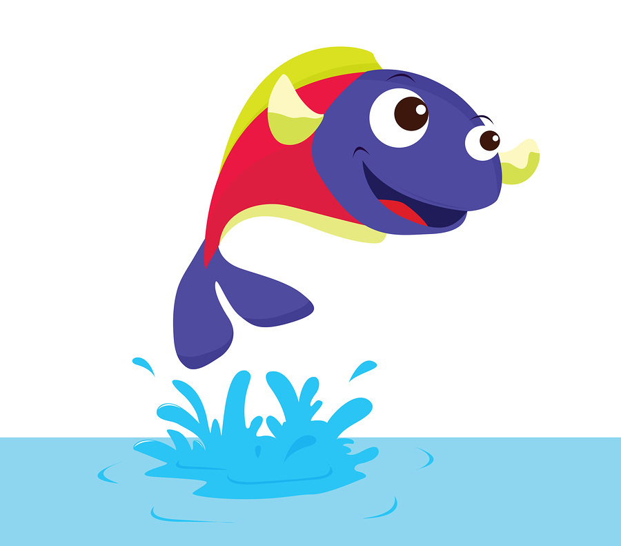 Cartoon fish jumping out of water clipart - photo#16