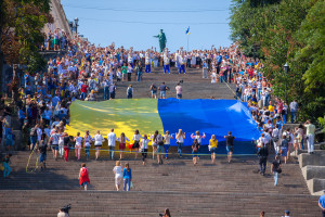 ODESSA, UKRAINE - August 23: Flash mob in city of Odessa on Pote