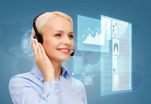 business, technology and call center concept - friendly female h